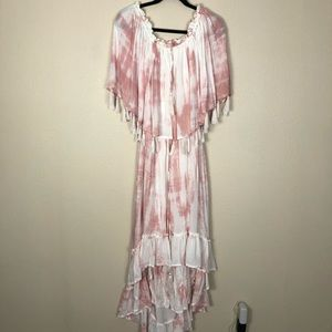 Fillyboo tie dye high low maxi dress off shoulder
